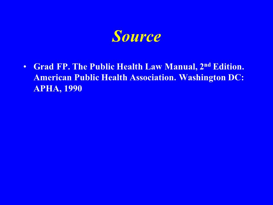 Source Grad FP. The Public Health Law Manual, 2 nd Edition.