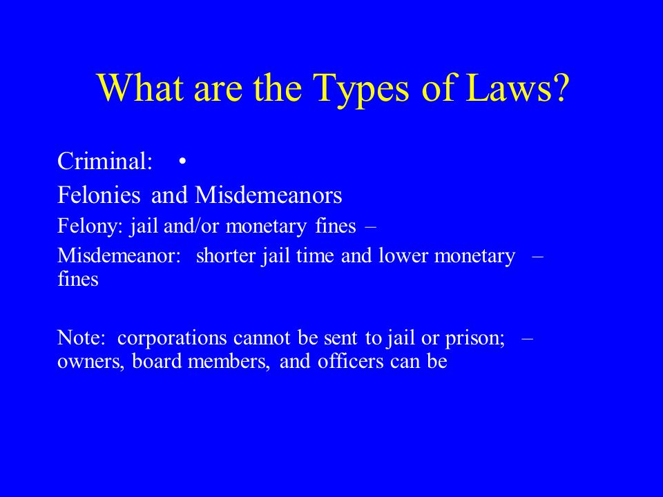 What are the Types of Laws.