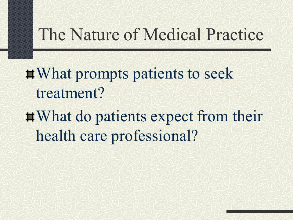 The Nature of Medical Practice Is the delivery and purchase of health care like other products.