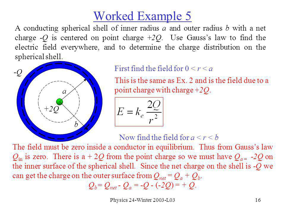 Physics 24-Winter 2003-L0316 Worked Example 5 A conducting spherical shell of inner radius a and outer radius b with a net charge -Q is centered on point charge +2Q.
