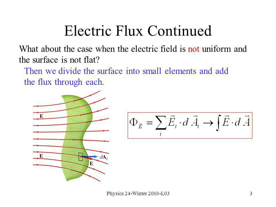 Physics 24-Winter 2003-L033 Electric Flux Continued What about the case when the electric field is not uniform and the surface is not flat.
