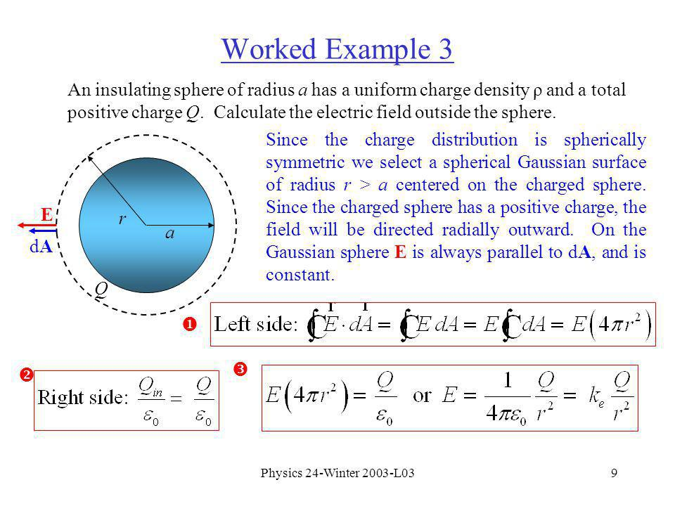 Physics 24-Winter 2003-L039 Worked Example 3 An insulating sphere of radius a has a uniform charge density ρ and a total positive charge Q.