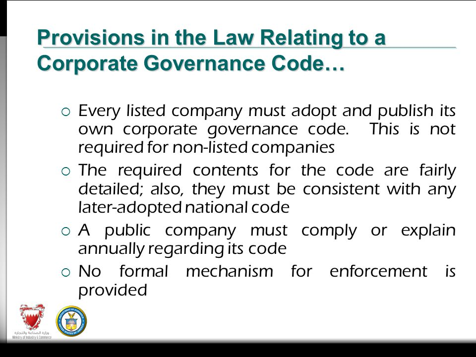 Every listed company must adopt and publish its own corporate governance code.