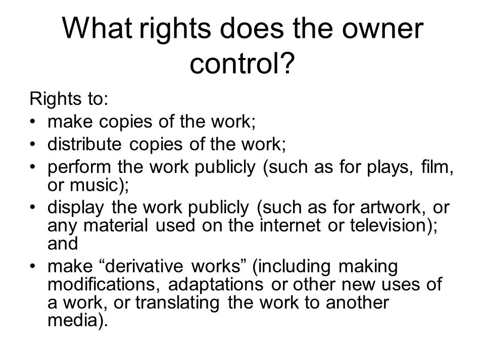 What rights does the owner control.