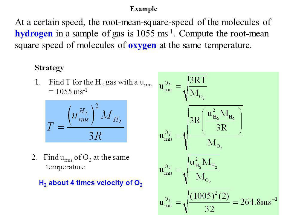 At a certain speed, the root-mean-square-speed of the molecules of hydrogen in a sample of gas is 1055 ms -1.