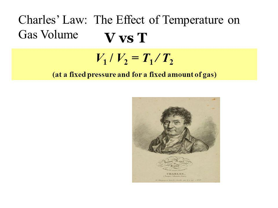 Charles Law: The Effect of Temperature on Gas Volume V 1 / V 2 = T 1 / T 2 (at a fixed pressure and for a fixed amount of gas) V vs T