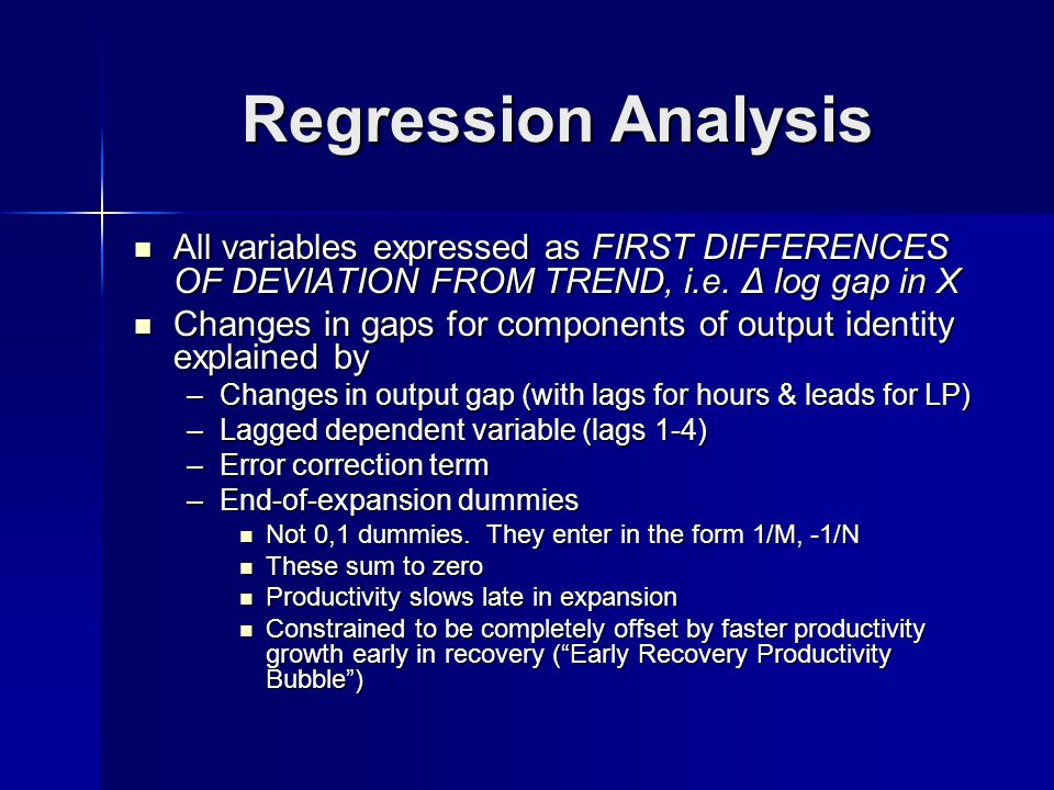 Regression Analysis All variables expressed as FIRST DIFFERENCES OF DEVIATION FROM TREND, i.e.