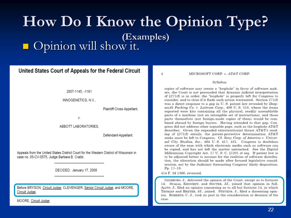 22 How Do I Know the Opinion Type (Examples) Opinion will show it. Opinion will show it.