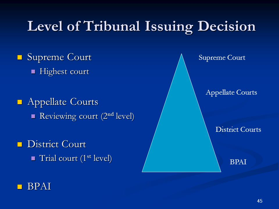 45 Level of Tribunal Issuing Decision Level of Tribunal Issuing Decision Supreme Court Supreme Court Highest court Highest court Appellate Courts Appellate Courts Reviewing court (2 nd level) Reviewing court (2 nd level) District Court District Court Trial court (1 st level) Trial court (1 st level) BPAI BPAI Supreme Court Appellate Courts District Courts BPAI