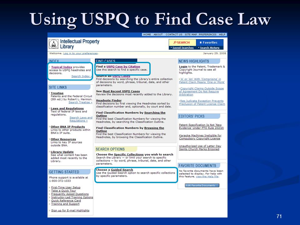 71 Using USPQ to Find Case Law
