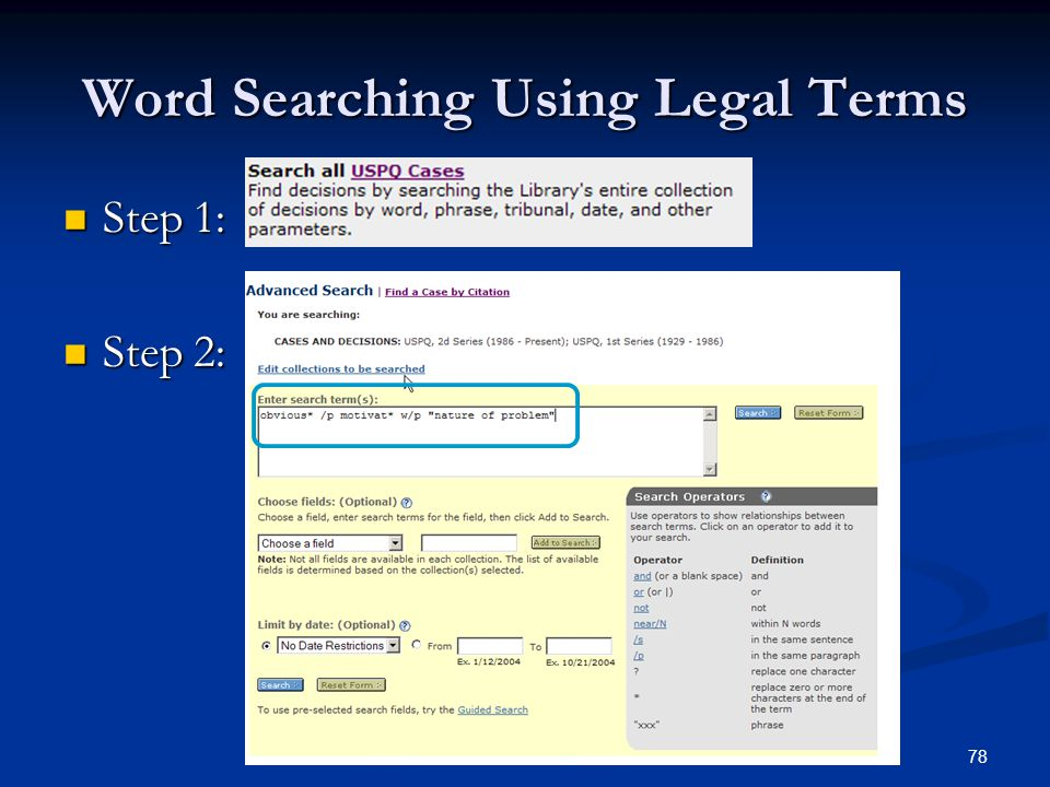 78 Word Searching Using Legal Terms Step 1: Step 1: Step 2: Step 2: