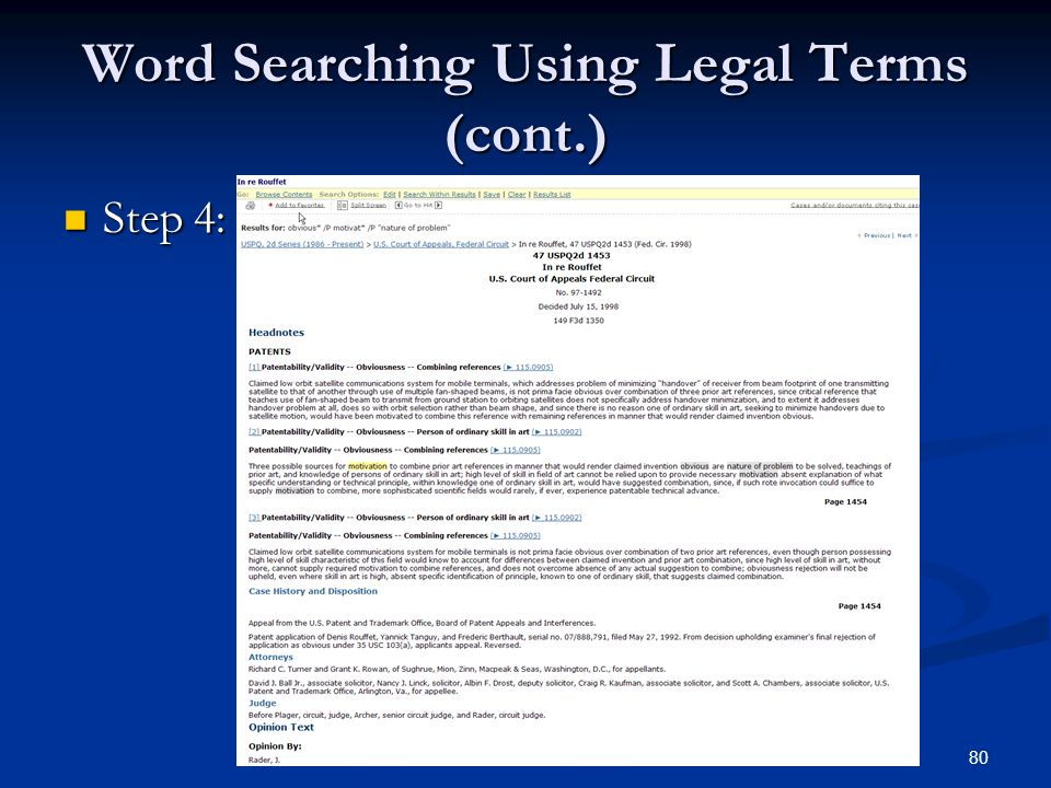 80 Word Searching Using Legal Terms (cont.) Step 4: Step 4: