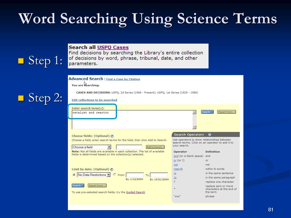 81 Word Searching Using Science Terms Step 1: Step 1: Step 2: Step 2: