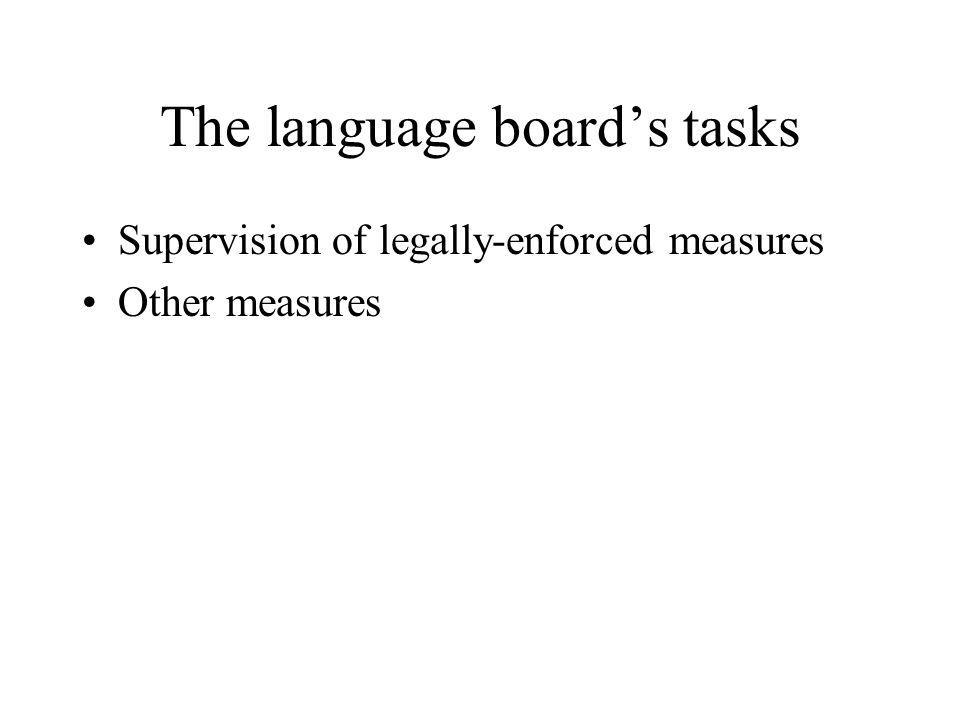 The language boards tasks Supervision of legally-enforced measures Other measures