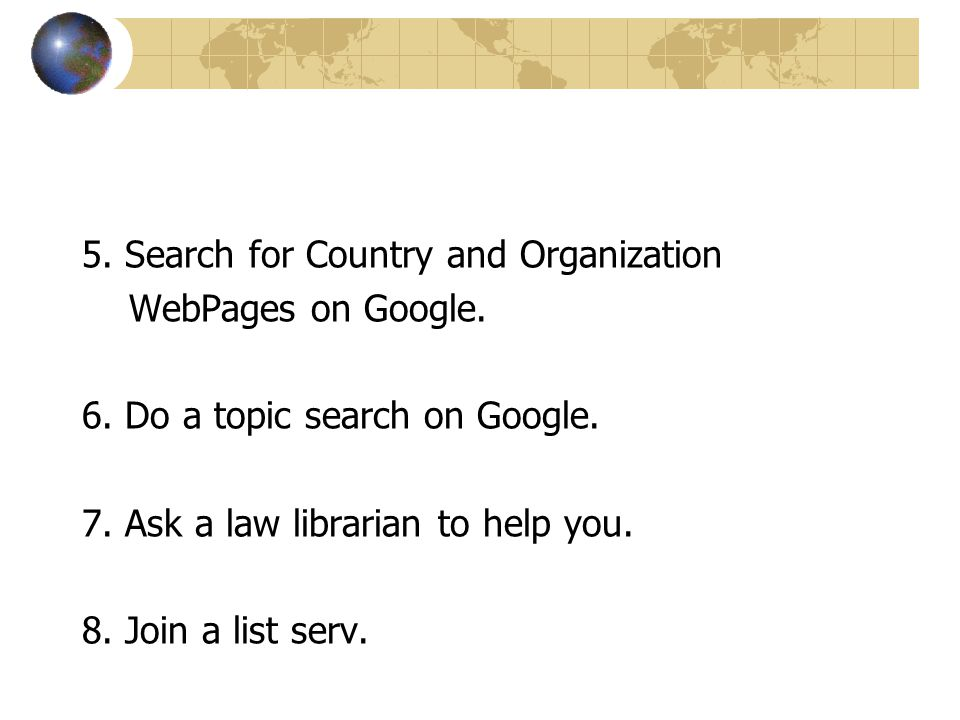 5. Search for Country and Organization WebPages on Google.