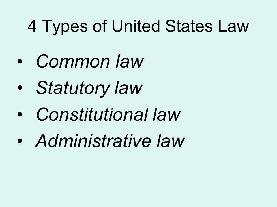 4 Types of United States Law Common law Statutory law Constitutional law Administrative law
