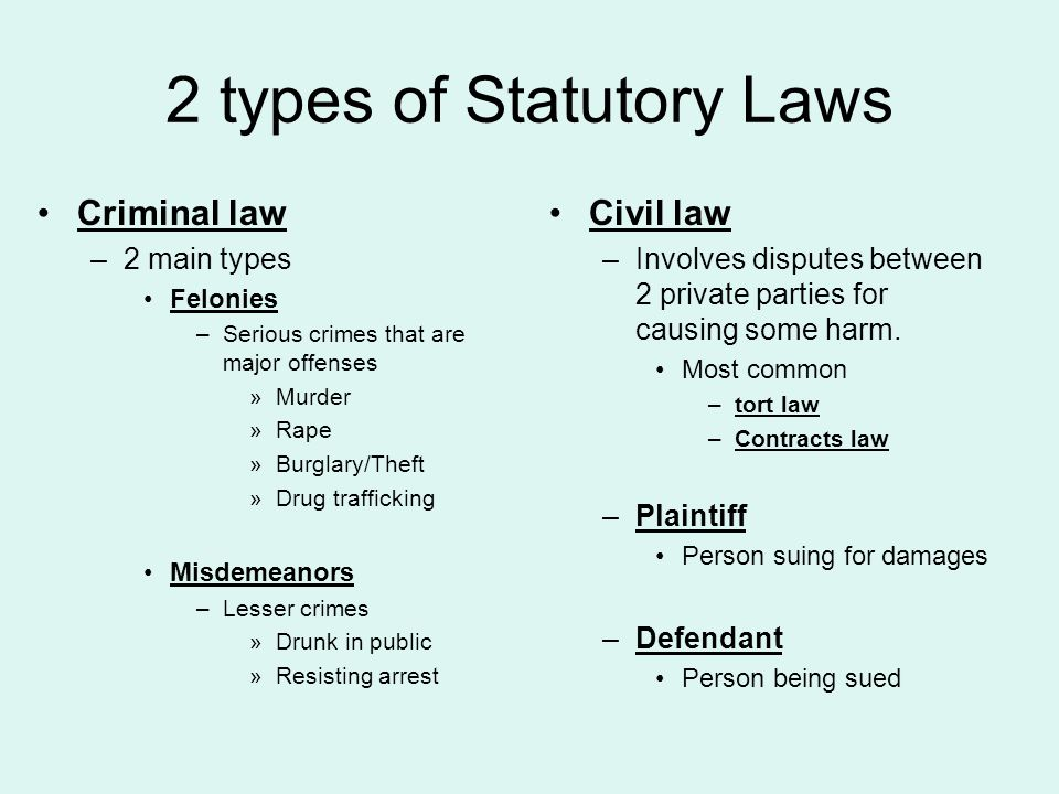 2 types of Statutory Laws Criminal law –2 main types Felonies –Serious crimes that are major offenses »Murder »Rape »Burglary/Theft »Drug trafficking Misdemeanors –Lesser crimes »Drunk in public »Resisting arrest Civil law –Involves disputes between 2 private parties for causing some harm.