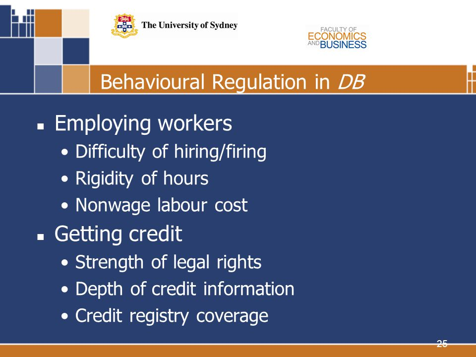 25 Behavioural Regulation in DB Employing workers Difficulty of hiring/firing Rigidity of hours Nonwage labour cost Getting credit Strength of legal rights Depth of credit information Credit registry coverage
