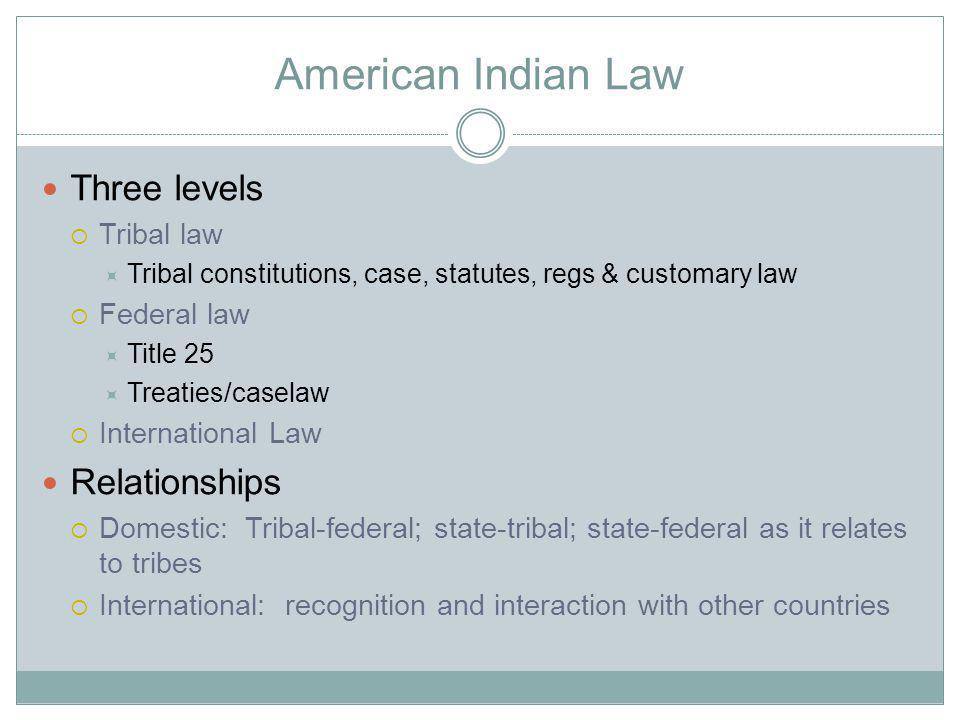 American Indian Law Three levels Tribal law Tribal constitutions, case, statutes, regs & customary law Federal law Title 25 Treaties/caselaw International Law Relationships Domestic: Tribal-federal; state-tribal; state-federal as it relates to tribes International: recognition and interaction with other countries