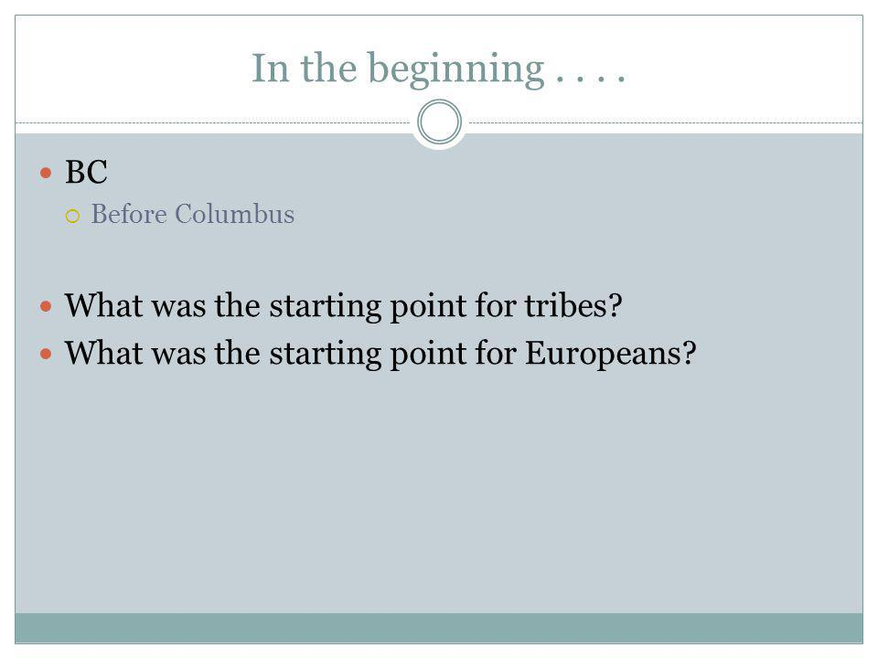 In the beginning.... BC Before Columbus What was the starting point for tribes.