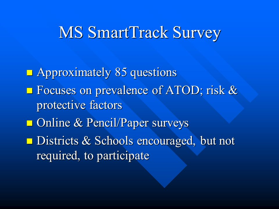 MDEs Annual Needs Assessment survey Provide local data to schools & districts Provide local data to schools & districts Meet federal reporting requirements (NCLB) Meet federal reporting requirements (NCLB) Encourage inter-agency cooperation Encourage inter-agency cooperation Promote state, district, & local grant writing activities Promote state, district, & local grant writing activities Cost Effective Cost Effective