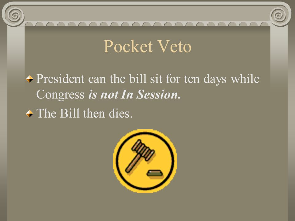 Vetoed Bills Congress can Override a Presidential Veto 2/3rds Vote is Needed in Both Houses to Override the Veto.