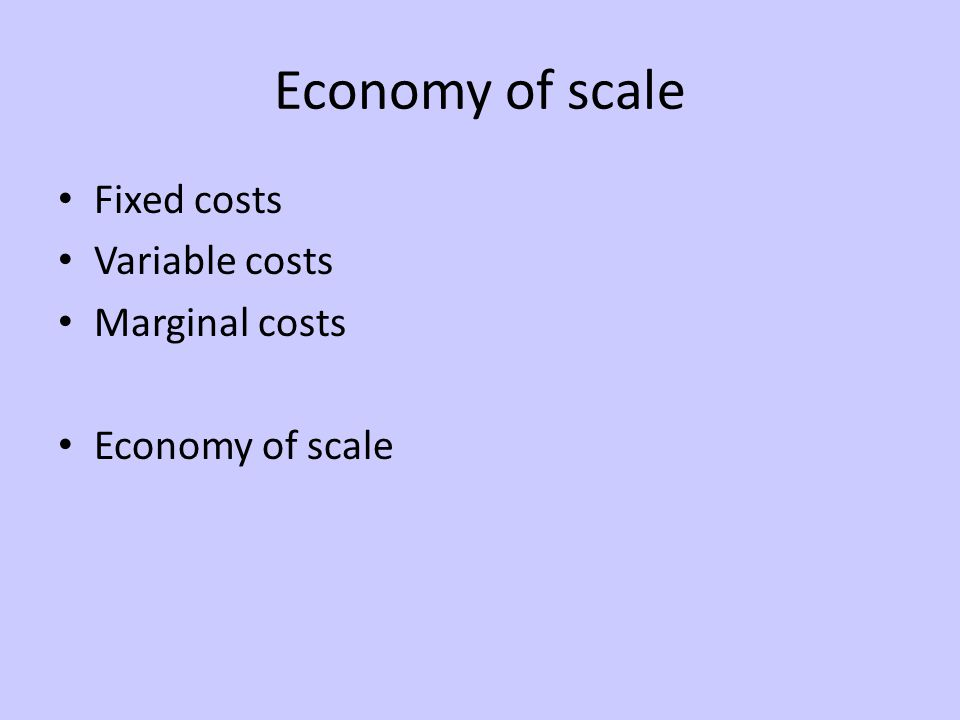 Economy of scale Fixed costs Variable costs Marginal costs Economy of scale