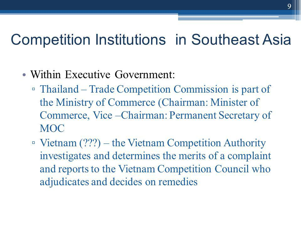 Competition Institutions in Southeast Asia Within Executive Government: Thailand – Trade Competition Commission is part of the Ministry of Commerce (Chairman: Minister of Commerce, Vice –Chairman: Permanent Secretary of MOC Vietnam ( ) – the Vietnam Competition Authority investigates and determines the merits of a complaint and reports to the Vietnam Competition Council who adjudicates and decides on remedies 9