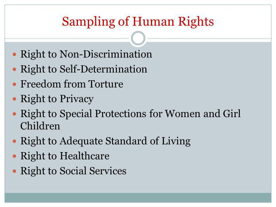 Sampling of Human Rights Right to Non-Discrimination Right to Self-Determination Freedom from Torture Right to Privacy Right to Special Protections for Women and Girl Children Right to Adequate Standard of Living Right to Healthcare Right to Social Services