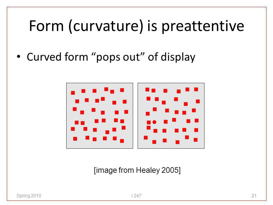Form (curvature) is preattentive Curved form pops out of display Spring 2010I 24721 [image from Healey 2005]