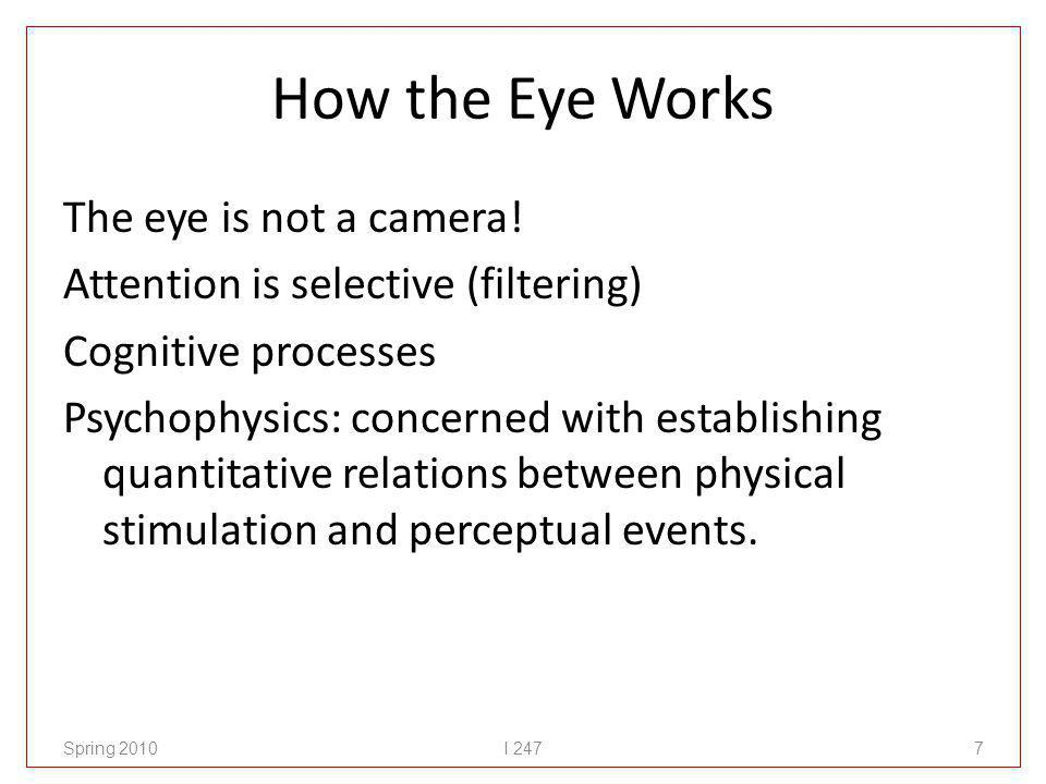 How the Eye Works The eye is not a camera.