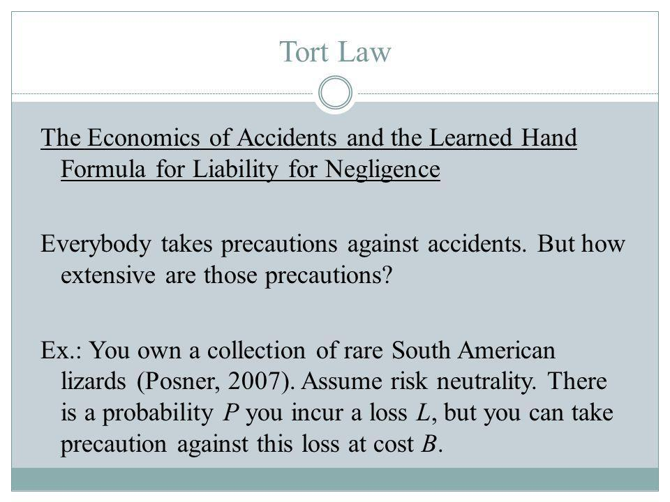 Tort Law The Economics of Accidents and the Learned Hand Formula for Liability for Negligence Everybody takes precautions against accidents.