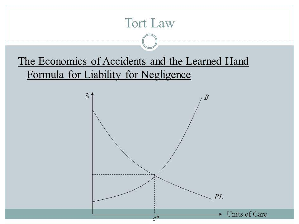 Tort Law The Economics of Accidents and the Learned Hand Formula for Liability for Negligence Units of Care $ PL B c*c*