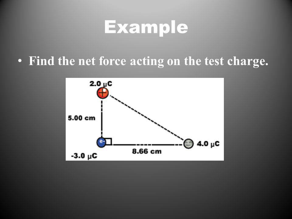 Example Find the net force acting on the test charge.