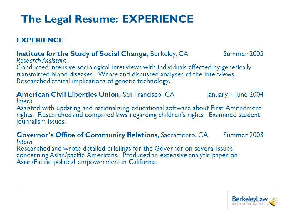 Private Sector Legal Resumes Marsha Rabkin Associate Director for ...