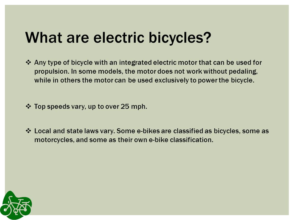 What are electric bicycles.