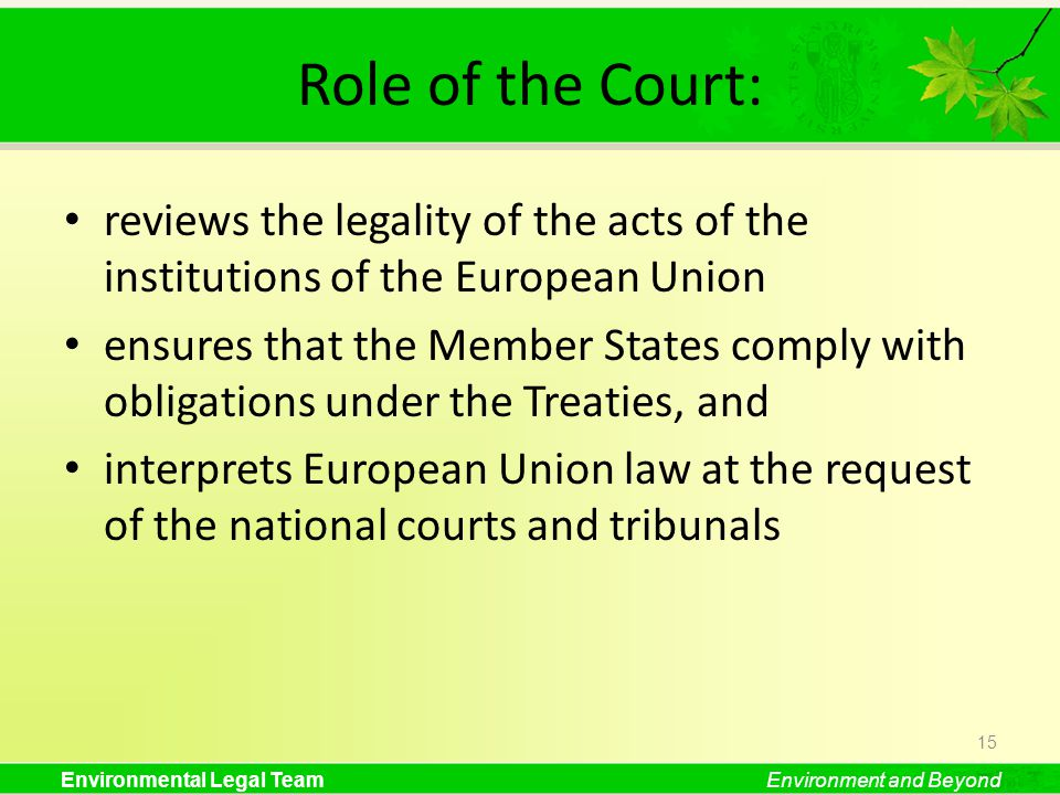 Environmental Legal TeamEnvironment and Beyond Role of the Court: reviews the legality of the acts of the institutions of the European Union ensures that the Member States comply with obligations under the Treaties, and interprets European Union law at the request of the national courts and tribunals 15