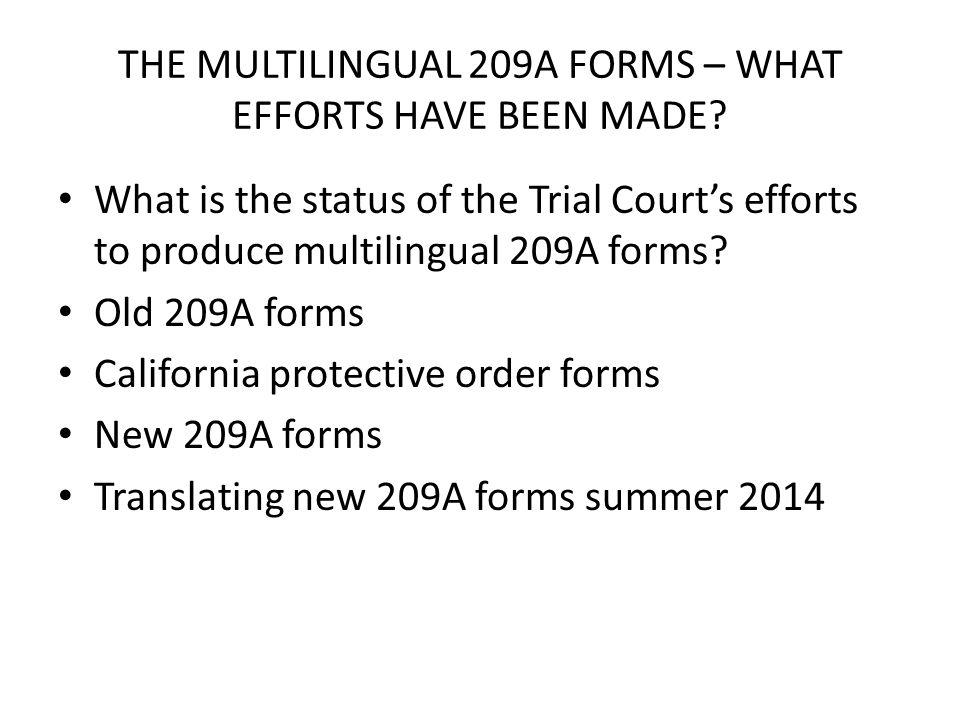 THE MULTILINGUAL 209A FORMS – WHAT EFFORTS HAVE BEEN MADE.