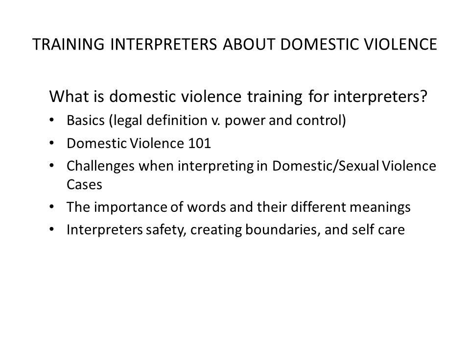 TRAINING INTERPRETERS ABOUT DOMESTIC VIOLENCE What is domestic violence training for interpreters.