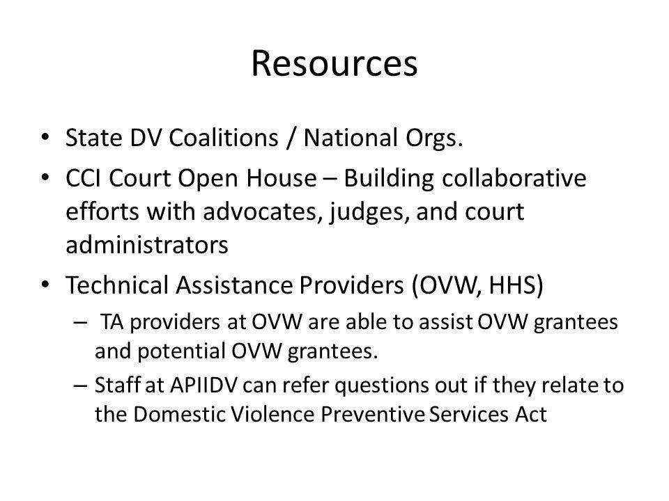 Resources State DV Coalitions / National Orgs.