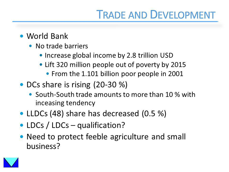 World Bank No trade barriers Increase global income by 2.8 trillion USD Lift 320 million people out of poverty by 2015 From the 1.101 billion poor people in 2001 DCs share is rising (20-30 %) South-South trade amounts to more than 10 % with inceasing tendency LLDCs (48) share has decreased (0.5 %) LDCs / LDCs – qualification.