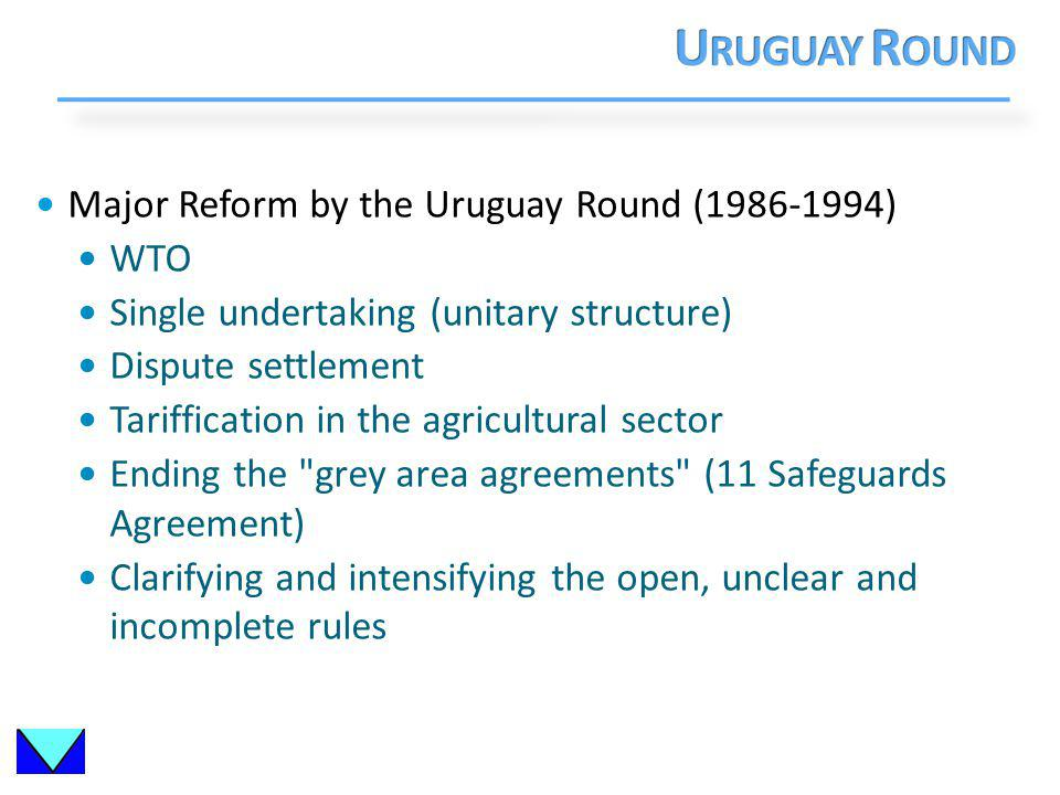 Major Reform by the Uruguay Round (1986-1994) WTO Single undertaking (unitary structure) Dispute settlement Tariffication in the agricultural sector Ending the grey area agreements (11 Safeguards Agreement) Clarifying and intensifying the open, unclear and incomplete rules