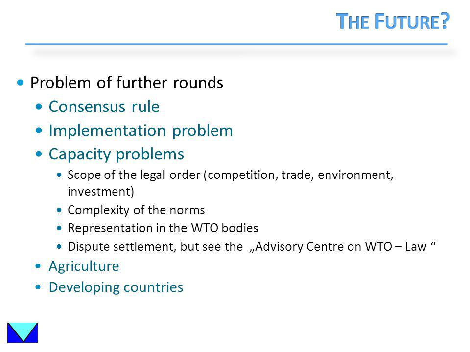 Problem of further rounds Consensus rule Implementation problem Capacity problems Scope of the legal order (competition, trade, environment, investment) Complexity of the norms Representation in the WTO bodies Dispute settlement, but see the Advisory Centre on WTO – Law Agriculture Developing countries