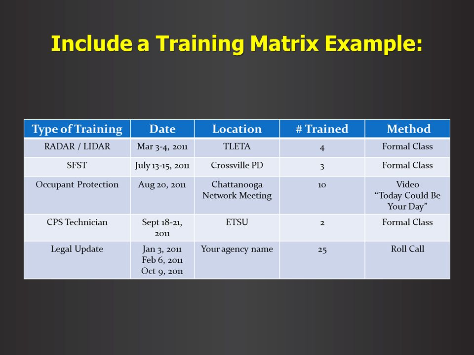 Include a Training Matrix Example: