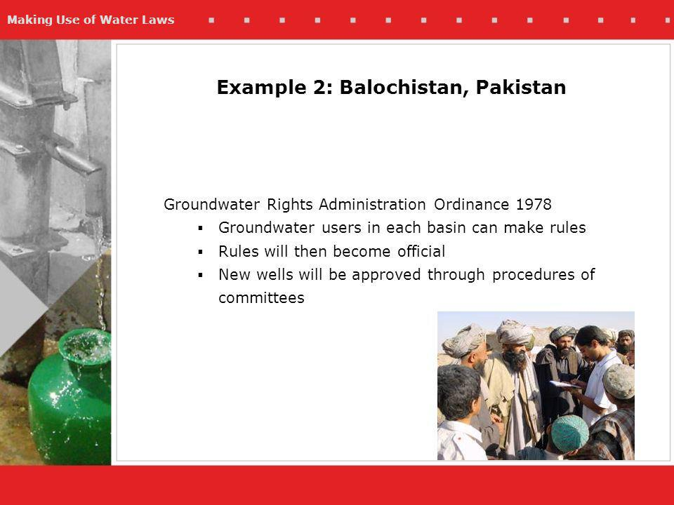 Making Use of Water Laws Groundwater Rights Administration Ordinance 1978 Groundwater users in each basin can make rules Rules will then become official New wells will be approved through procedures of committees Example 2: Balochistan, Pakistan