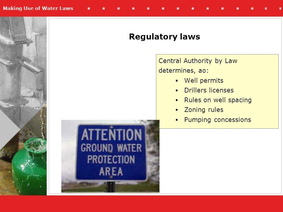 Making Use of Water Laws Regulatory laws Central Authority by Law determines, ao: Well permits Drillers licenses Rules on well spacing Zoning rules Pumping concessions