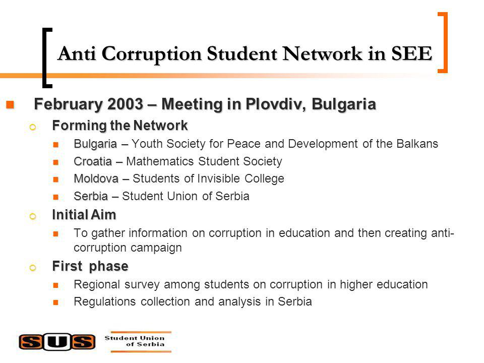 Anti Corruption Student Network in SEE February 2003 – Meeting in Plovdiv, Bulgaria February 2003 – Meeting in Plovdiv, Bulgaria Forming the Network Forming the Network Bulgaria – Bulgaria – Youth Society for Peace and Development of the Balkans Croatia – Croatia – Mathematics Student Society Moldova – Moldova – Students of Invisible College Serbia – Serbia – Student Union of Serbia Initial Aim Initial Aim To gather information on corruption in education and then creating anti- corruption campaign First phase First phase Regional survey among students on corruption in higher education Regulations collection and analysis in Serbia