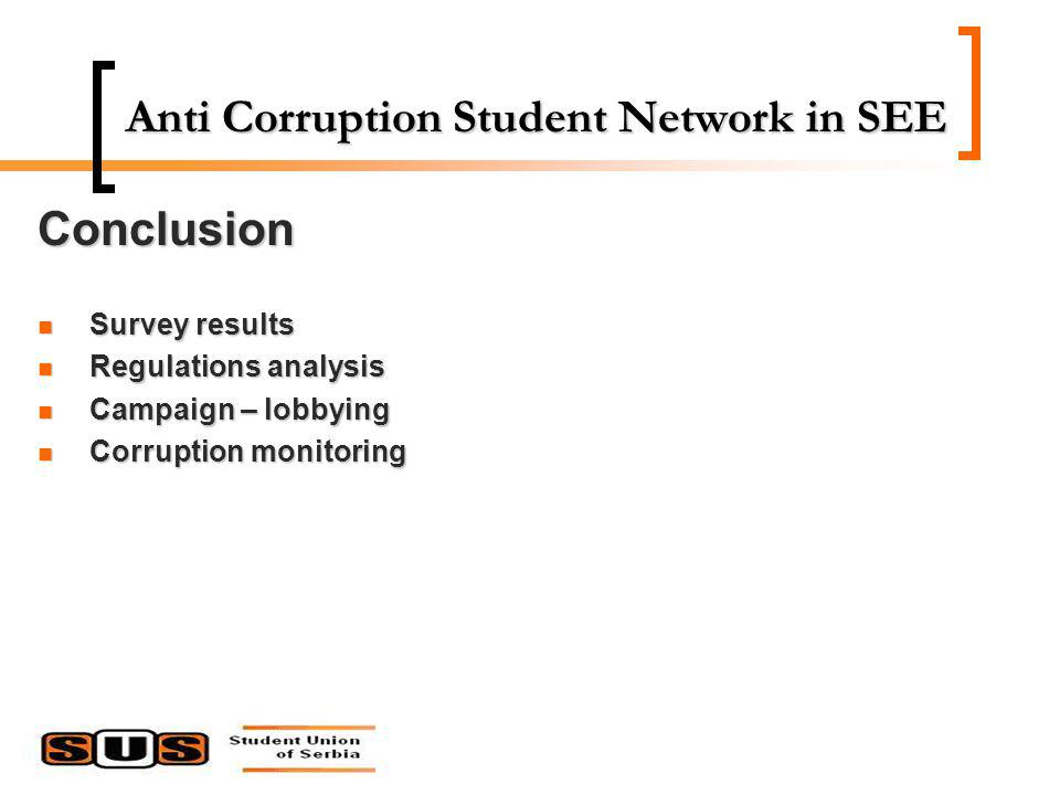 Anti Corruption Student Network in SEE Conclusion Survey results Survey results Regulations analysis Regulations analysis Campaign – lobbying Campaign – lobbying Corruption monitoring Corruption monitoring