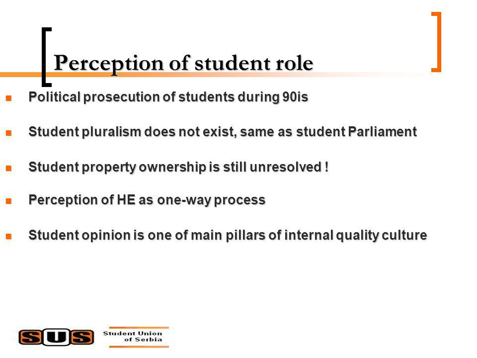 Perception of student role Political prosecution of students during 90is Political prosecution of students during 90is Student pluralism does not exist, same as student Parliament Student pluralism does not exist, same as student Parliament Student property ownership is still unresolved .