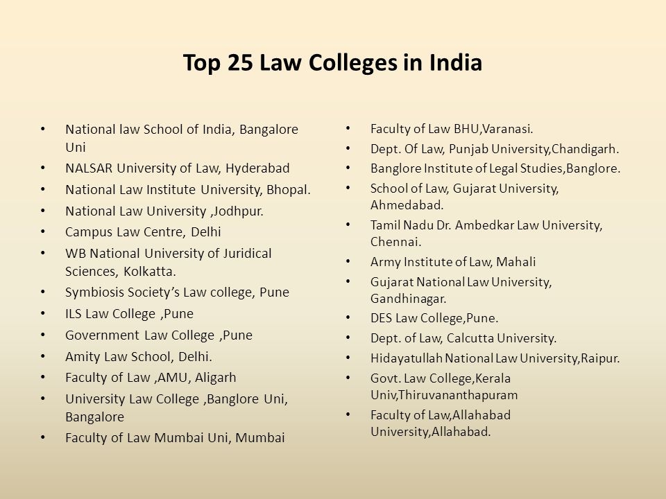 Top 25 Law Colleges in India National law School of India, Bangalore Uni NALSAR University of Law, Hyderabad National Law Institute University, Bhopal.